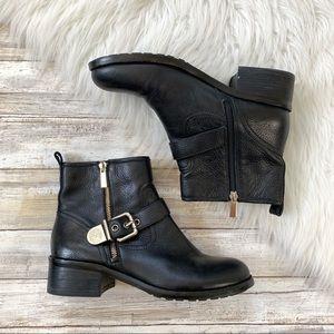Vince Camuto Black Warbita Moto Leather Boots
